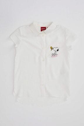 DeFacto Kız Çocuk Snoopy Lisanslı Kısa Kollu Gömlek