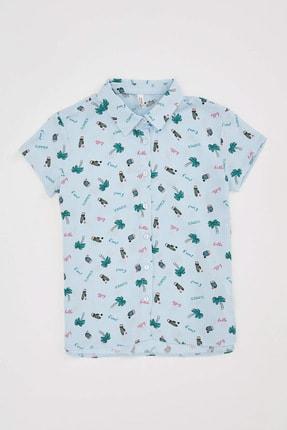 DeFacto Kız Çocuk Baskılı Kısa Kollu Gömlek