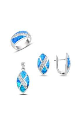 Tevuli Gümüş 925 Ayar Opal & Zirkon Taşlı Set