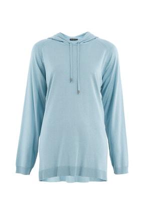 Butik Triko Kadın Mint Kapüşonlu Bluz 2630