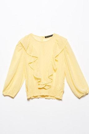 Dilvin Kadın Sarı Önü Volanlı Gipeli Bluz 101A05780