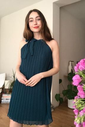 Zümrüt Yeşili Piliseli Elbise TWOSS20EL3029