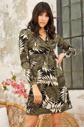Mispacoz Kadın Yaprak Desen Elbise - Haki