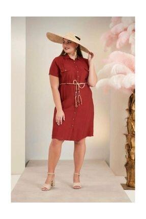 Rmg Büyük Beden Elbise ,renk Kiremit , Kısa Kollu, Midi Boy, Hasır Kemerli