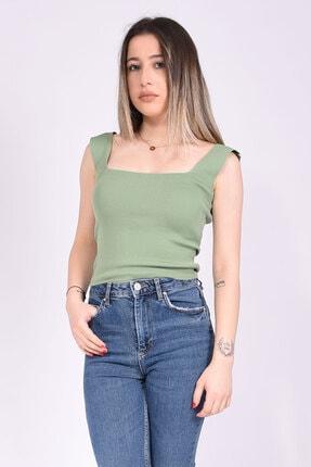 Samtoni Kare Yaka Bluz Yeşil