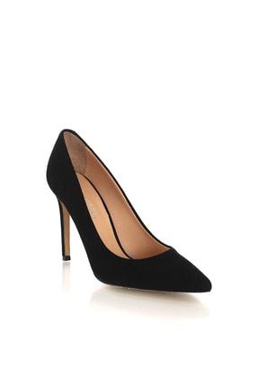 POLETTO Süet Siyah Kadın Topuklu Ayakkabı