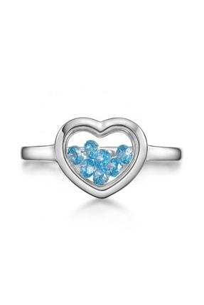 Altın Sepeti Gümüş Aquamarine Taşlı Kalp Yüzük