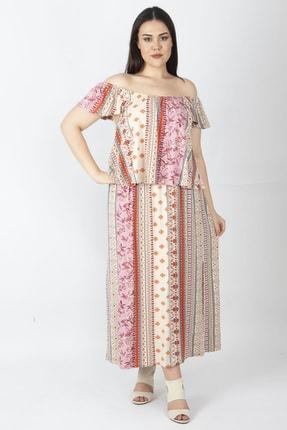Şans Kadın Renkli Yaka Kısmı Lastikli Volan Detaylı Elbise 65N16061