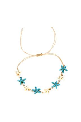Silver Bazaar Gümüş Toplu Mavi-krem Deniz Yıldızı Halhal