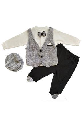 Miniworld Mevsimlik Kasket Şapka Yelek Papyonlu 4 Lü Kız Ve Erkek Bebek Alt Üst Takım