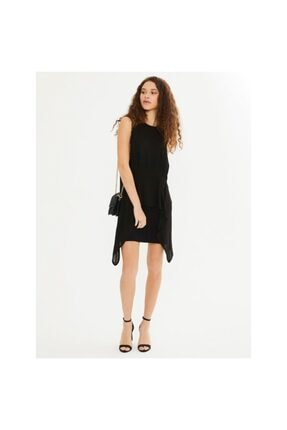 XINT Kadın Siyah Asimetrik Kesim Yuvarlak Yaka Elbise 285636