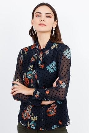 Moda İlgi Modailgi Dik Yaka Bağcıklı Çiçek Desenli Gömlek Orjinal