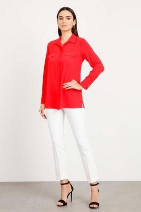 Moda İlgi Kadın Mercan Erkek Yaka Kapaklı Gömlek Mercan