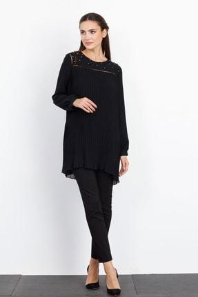 Moda İlgi Sıfır Yaka Piliseli Tunik Siyah