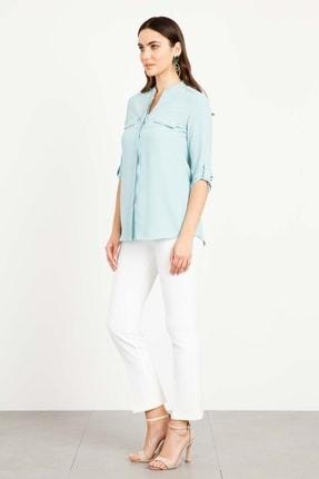 Moda İlgi Dik Yaka Kapaklı Gömlek Mint