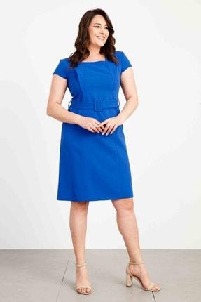 Moda İlgi Mono Yaka Detaylı A Form Elbise Saks