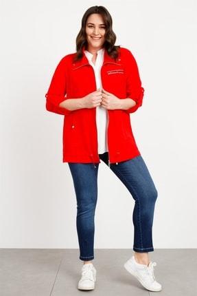 Moda İlgi Kadın Modailgi Şal Yaka Fermuarlı Tunik Kırmızı