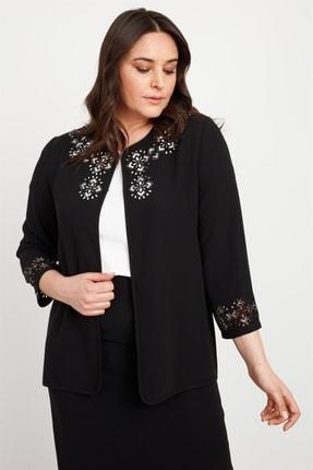 Moda İlgi Modailgi Lazer Taşlı Ceket Siyah