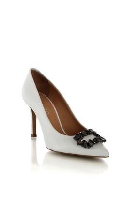 POLETTO Tokalı Beyaz Topuklu Kadın Ayakkabısı