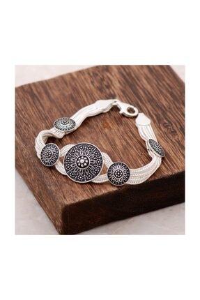 Sümer Telkari Asur Motifli Tasarım Midyat Hasırı Gümüş Bileklik 2360