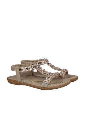 Guja Bej Ortopedik Kadın Swarovski Taşlı Sandalet 204-1