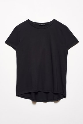 Dilvin Kadın Siyah Bisiklet Yaka Basic T-Shirt 101A03471