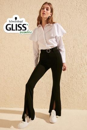 TrendyolMilla Siyah Taşlı Kemerli Yırtmaç Detaylı Örme Pantolon TWOSS20PL0100