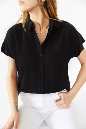 Xhan Kadın Siyah Yarasa Kol Gömlek 0yxk2-43783-02