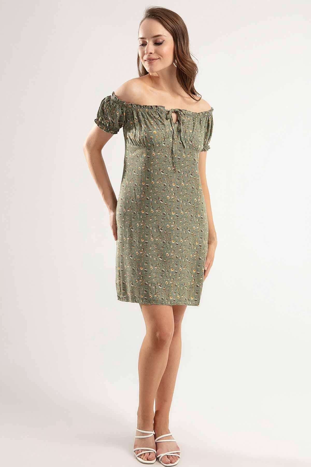 Y-London Kadın Haki Çiçek Baskılı Fermuarlı Bant Kol Kısa Elbise Y20S126-10225