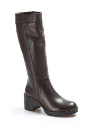 Fast Step Hakiki Deri Kürklü Kahve Kadın Kalın Topuklu Çizme 407KZA2110