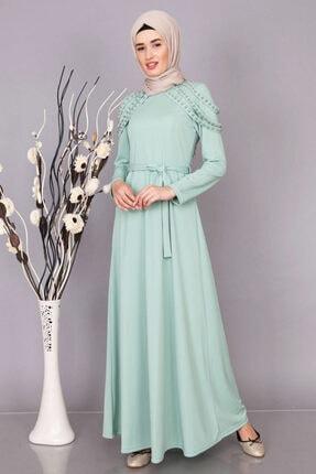 Boydan Omzu Inci Detaylı Elbise Modelleri 4017-Mint-Yeşili