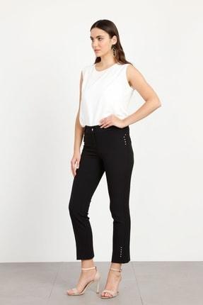 Moda İlgi Rivet Taşlı Dar Paça Pantolon Siyah