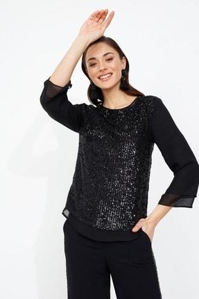 Moda İlgi Ön Pul Payet Bluz Siyah