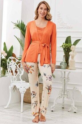 20540 Orange Sabahlıklı Pijama Takımı