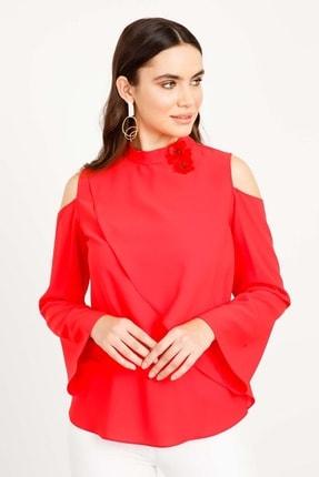 Moda İlgi Modailgi Dika Yaka Broşlu Omuzu Açık Bluz Mercan