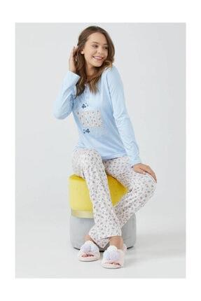 Sementa Kadın Patlı Uzun Kol Pijama Takımı - Mavi