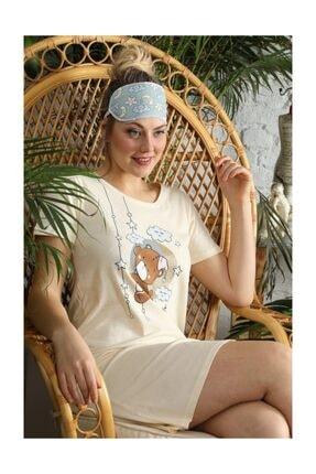 YOYOSO Kadın Ayıcık Desen Elbise Gecelik 12318