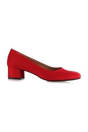 Kırmızı Topuklu Ayakkabı Kalın Topuklu 12113KRS