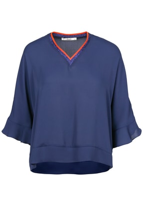 Seçil Kadın Lacivert V Yakalı Katlı Bluz