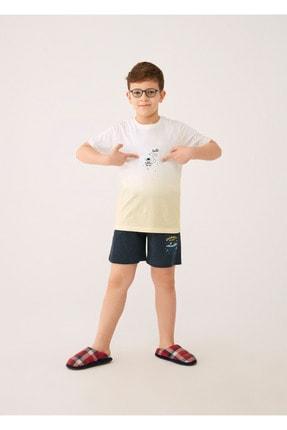 Dagi Sarı Çocuk Nopeli V Yaka Kısa Kol Pijama Takımı