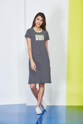 PJS PİJAMA Çizgili Baskılı Kadın Elbise 20601