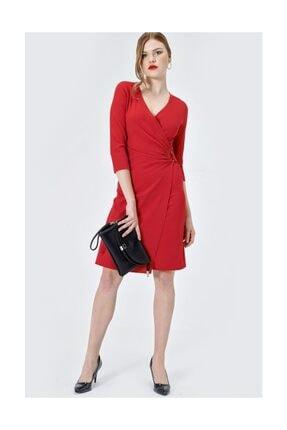 Jument Kadın Kırmızı D Tokalı Capri Kol Elbise 2551