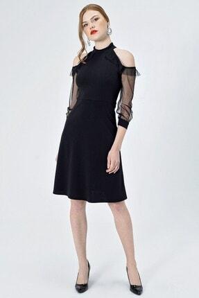 Jument Kadın Siyah Tül Garnili Kolları Volanlı Kiloş Elbise 55005