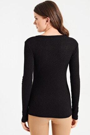 Jument Kadın Siyah Alba Kaşkorse V Yaka Uzun Kol Bluz 6364