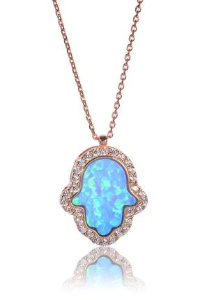 BY BARUN Kadın 925 Ayar Gümüş  Opal Fatma'nın Eli Kolye - Rose Kl-0180