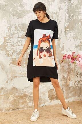 Mispacoz Kadın Siyah Baskılı Elbise Vs245