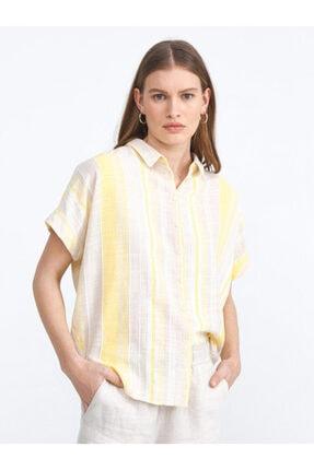 XINT Kadın Sarı Pamuklu Çizgili Rahat Kesim Gömlek