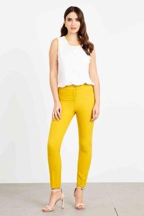 Moda İlgi Yan Cep Dar Paça Pantolon Safran