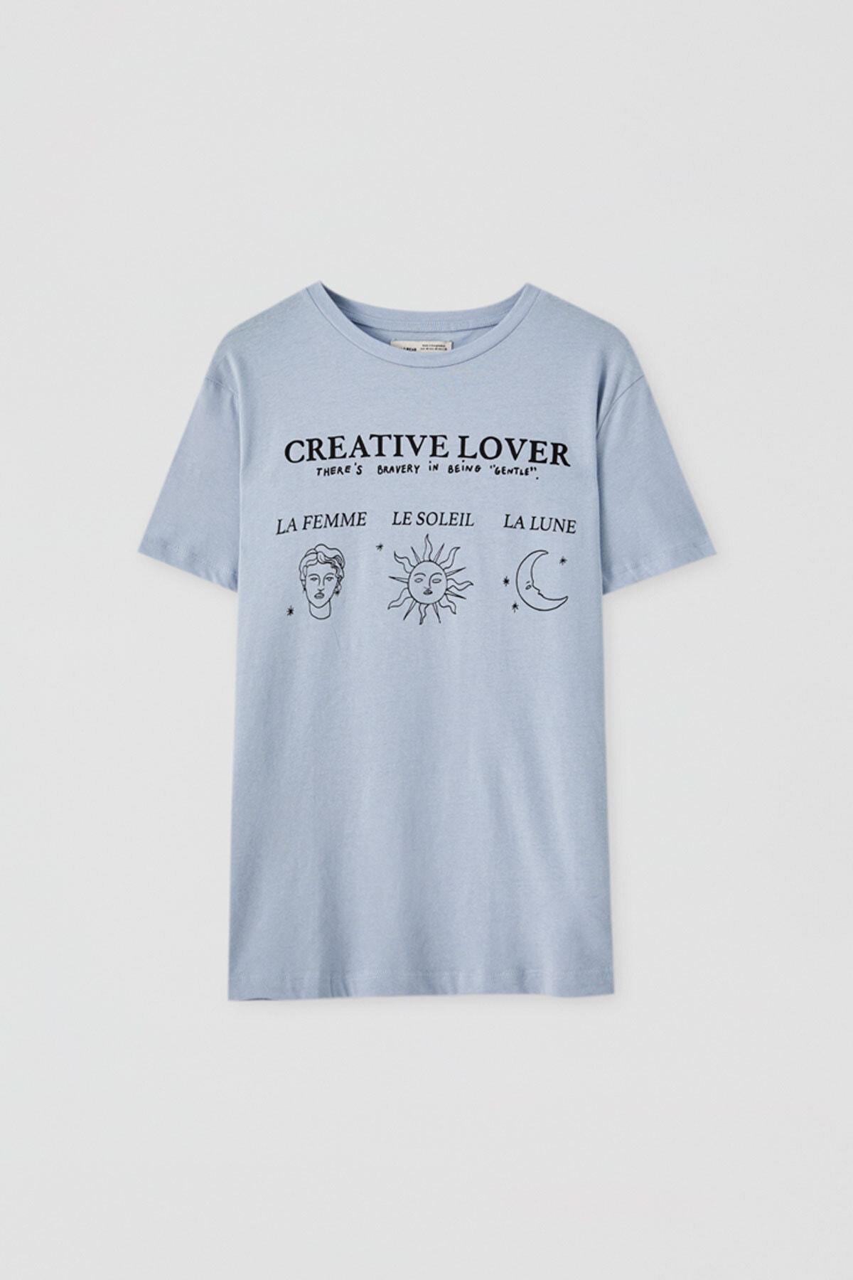 "Pull & Bear Kadın ""Art Classic"" Görselli T-Shirt 05236336"