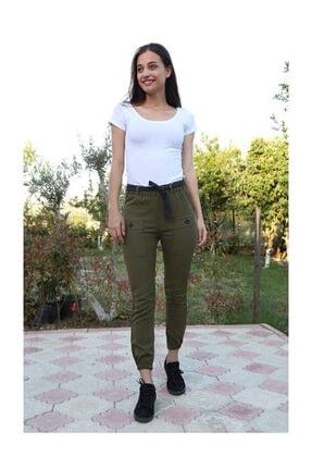 Bigdart Kadın Haki Bel Kuşak Çift Cepli Pantolon 6436bgd19_004